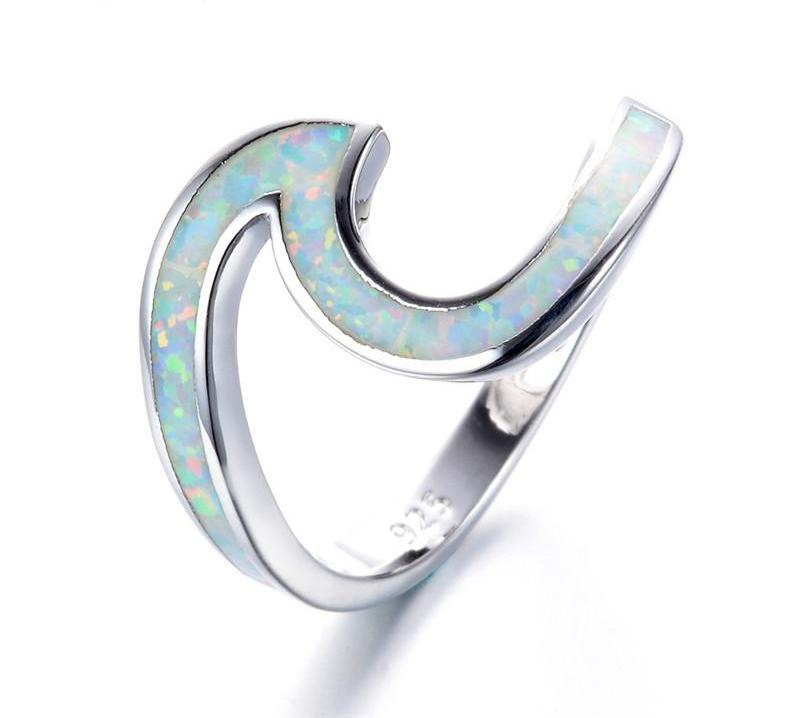 Sterling Silver Filled Opal Wave Ring