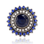 Black Blue Stone Antique Silver Round Adjustable Ring