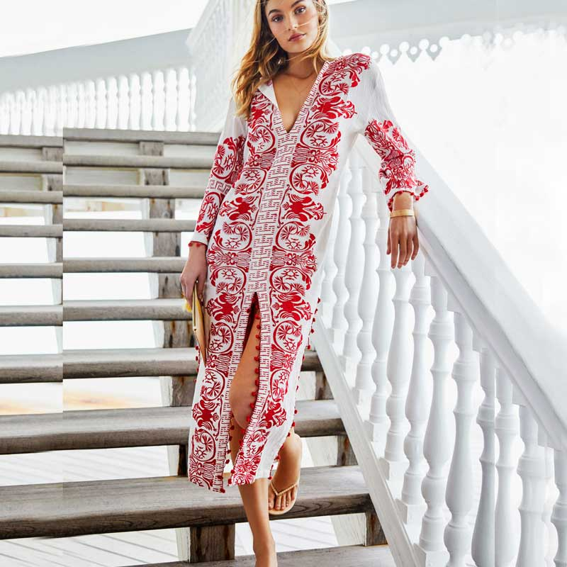 BOHO Embroidered Cotton Caftan Dress