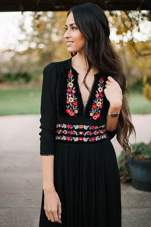 Embroidered Boho Long Dress