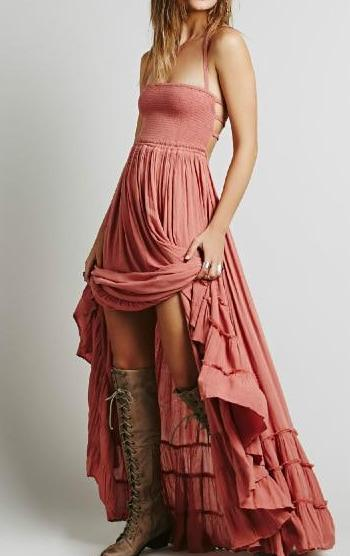 Boho Vintage Halter Neck Dress