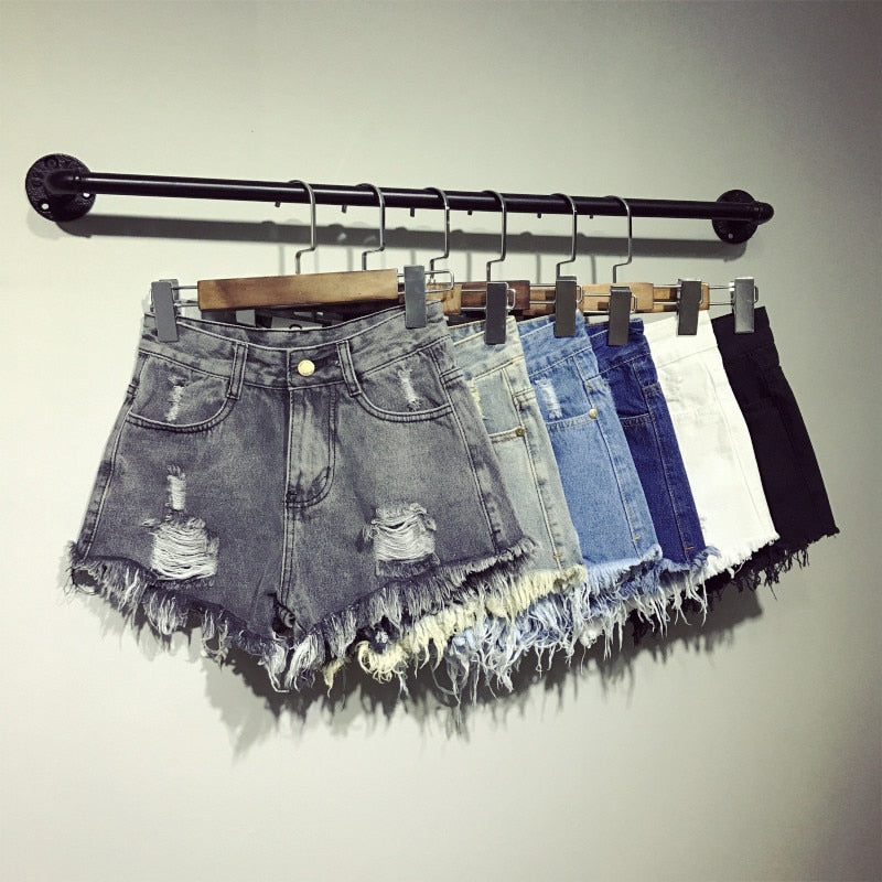 Boho Vintage High Waist Denim Shorts