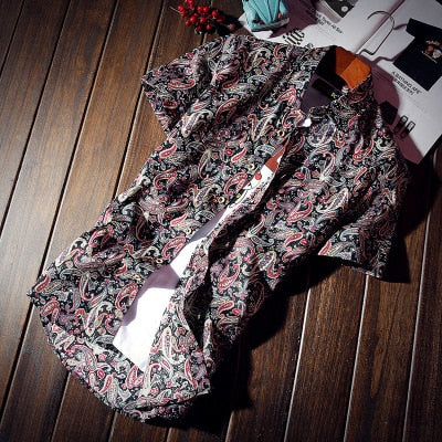 Floral Print Men's Short Sleeve Shirt