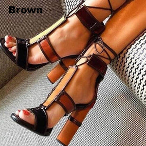 Ethnic Retro Lady Jane Patchwork Chunky Heels