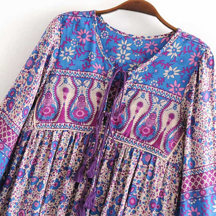 Lavender Blossom Boho Dress