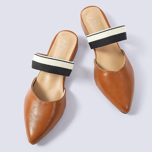 Pointed Toe Square Heels Mules