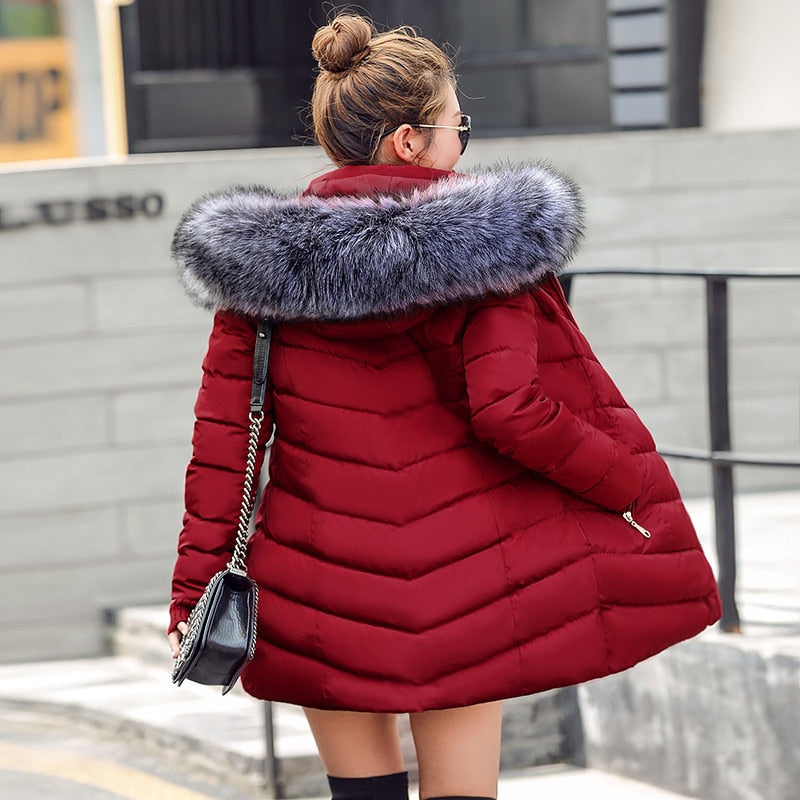 Hooded Faux Fur Collar Down Jacket