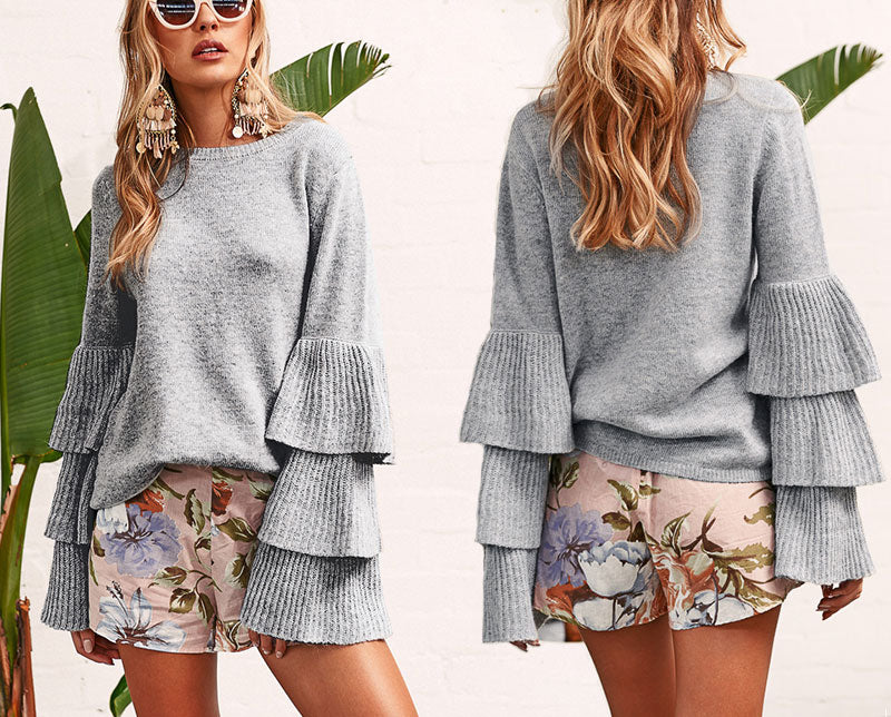 Boho Loose Flare Sleeve Knit Sweater