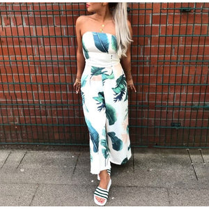 Off Shoulder Navy Blue Floral Print Jumpsuit