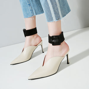 Leather Slipper Pointed Toe Heel