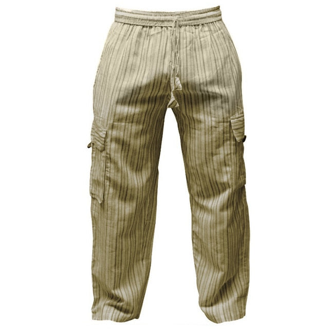 Striped Wide Legs Men Casual Pants - 100% Cotton