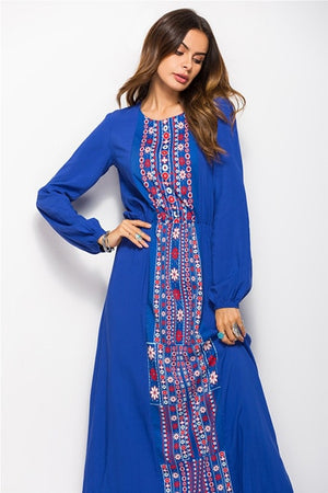 Bohemian Print Long Sleeve Maxi Dress