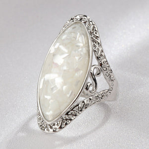 4 Color Vintage Antique Silver Oval Ring