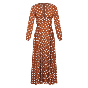 Bohemian Polka Dots Split Maxi Dress