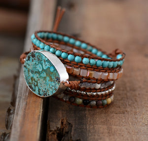 Mixed Natural Stones, Gilded Handmade Wrap Bracelet (Leather / Non Leather avail)