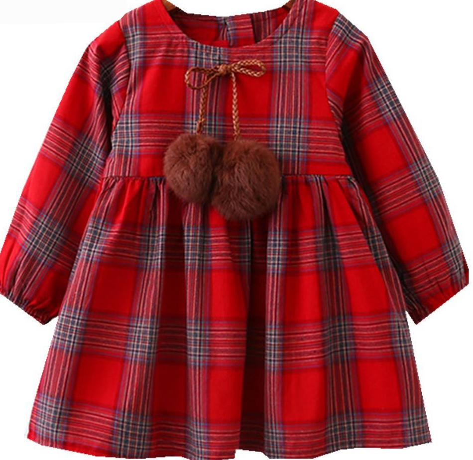 Ball Bow Design Baby Girls Long Sleeve Dress