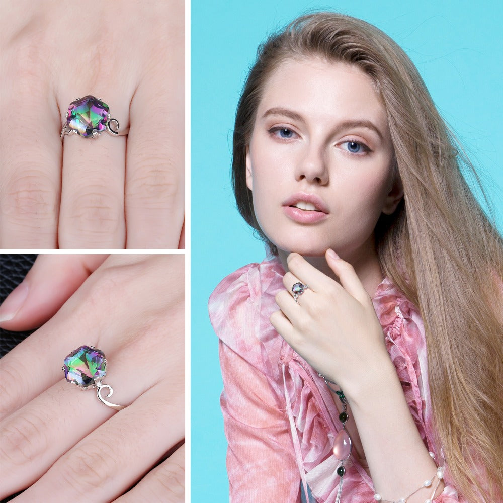 Rainbow Fire Mystic Topaz Ring, Solid 925 Sterling Silver