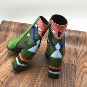 Vintage Boho Retro Ankle Print Leather Boots
