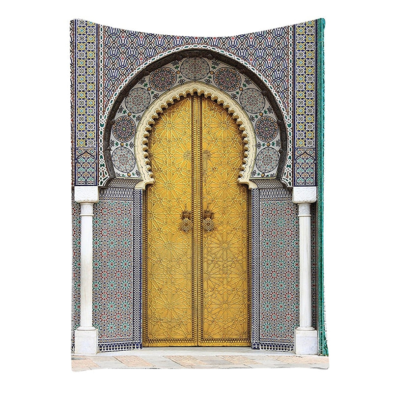 Vintage Artwork Morocco Arabian Collection Golden Door Of Royal Palace