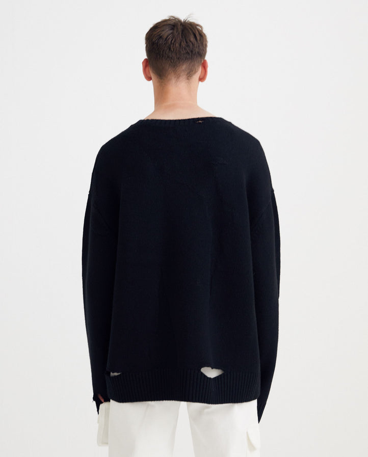 A COLD WALL MAIN - KNITTED OVERSIZED DESTROY KNITTED JUMPER - ACWMK015 MENS A-COLD-WALL
