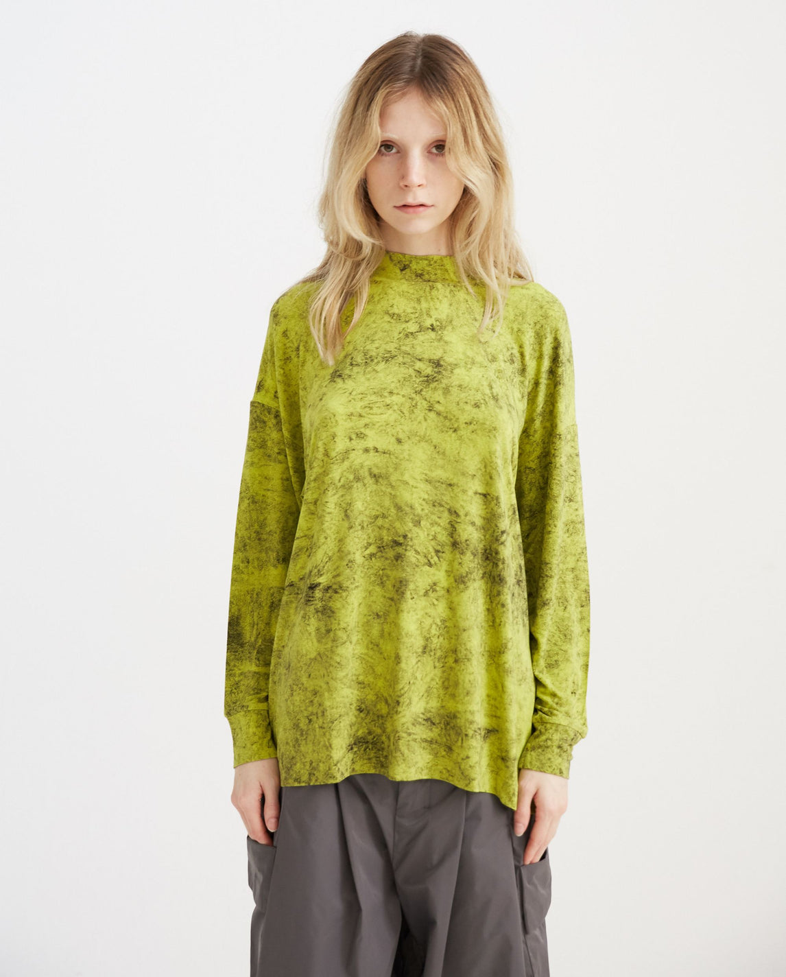 Abstract Long Sleeve T-Shirt - Neon Green WOMENS SHINYA KOZUKA