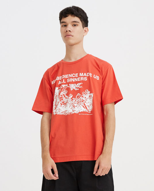 Adam & Eve Print T-Shirt - Red UNISEX VYNER ARTICLES
