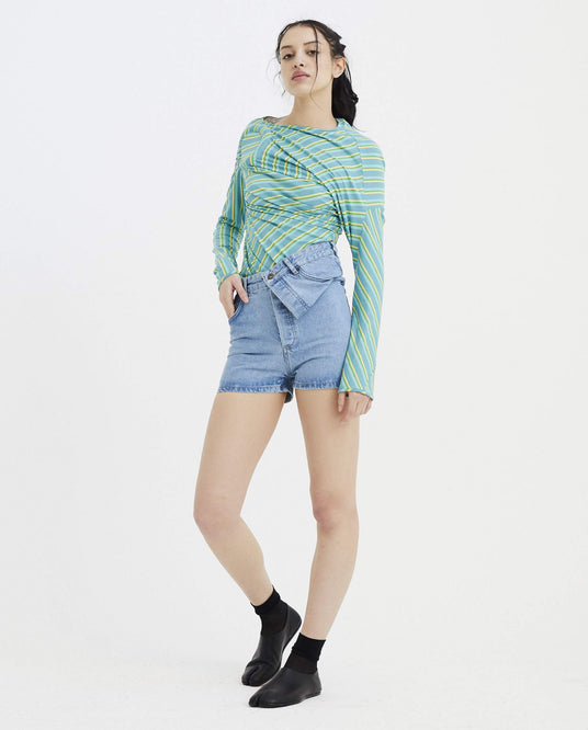 Asymmetric Denim Shorts - Blue WOMENS Y/PROJECT