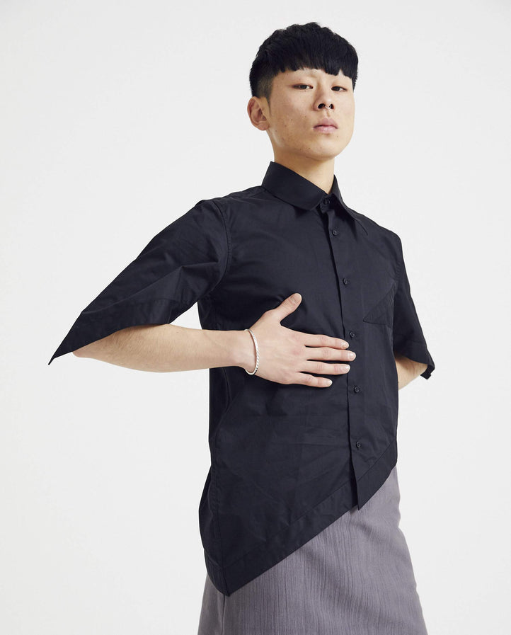 Asymmetrical Cut Button Down Shirt - Black MENS XANDER ZHOU