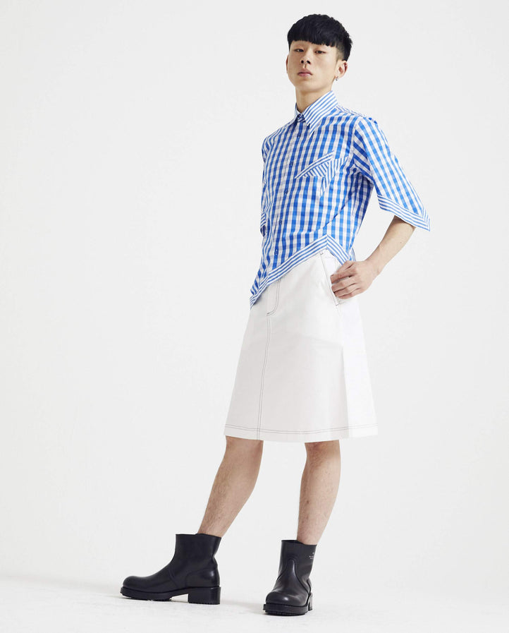 Asymmetrical Cut Button Down Shirt - Blue/White MENS XANDER ZHOU