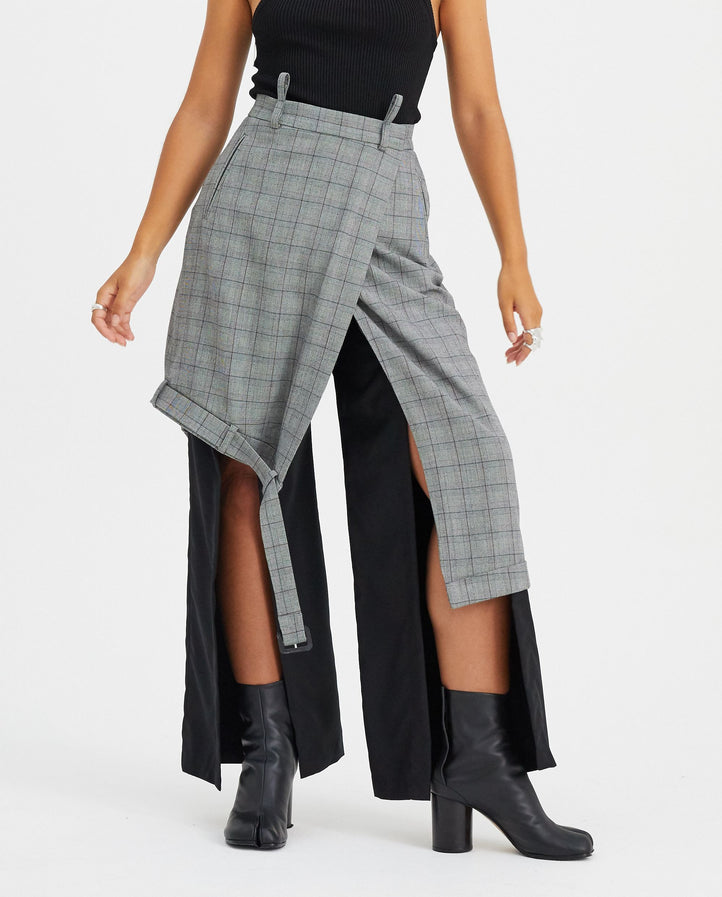 Asymmetrical Unisex Skirt - Grey WOMENS DELADA