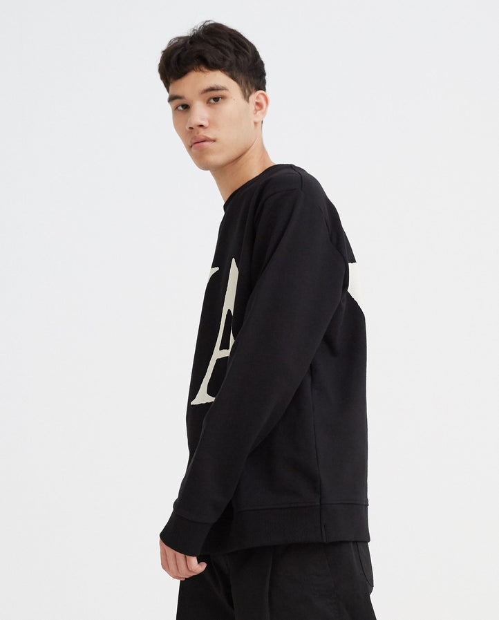 Basic Sweat with Print - Black MENS VYNER ARTICLES