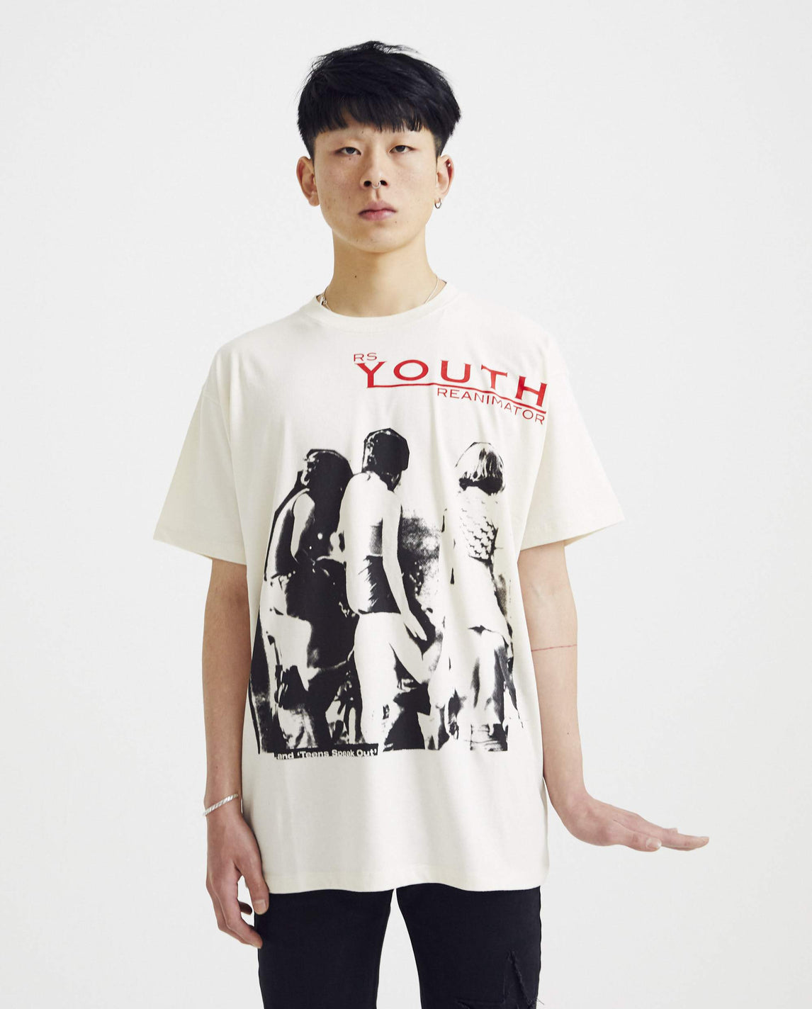 Big Fit T-Shirt With Youth Reanimator - Ecru MENS RAF SIMONS