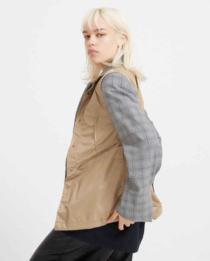 Blazer With Nylon Vest - Grey Check WOMENS DELADA