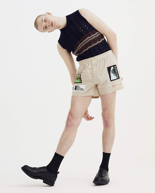 Boxer Shorts With Patches - Ecru/Brown MENS RAF SIMONS