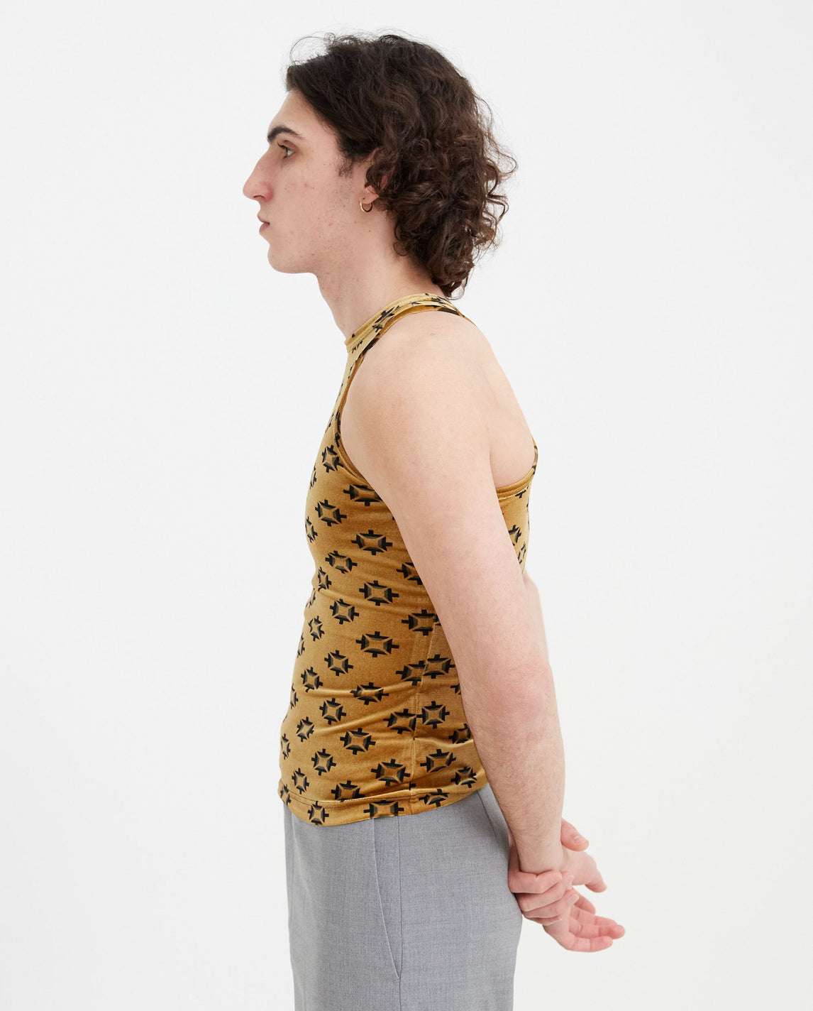 Brick Print Velvet Vest - Gold MENS Pronounce