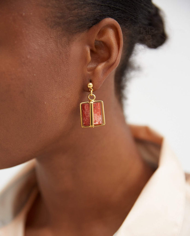Cage Earring - Red / Gold Plated WOMENS COLVILLE