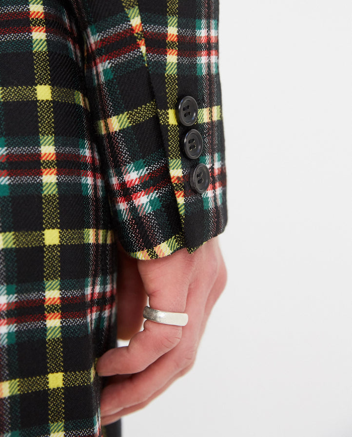 Check Coat - Black/Green MENS HOMME PLUS