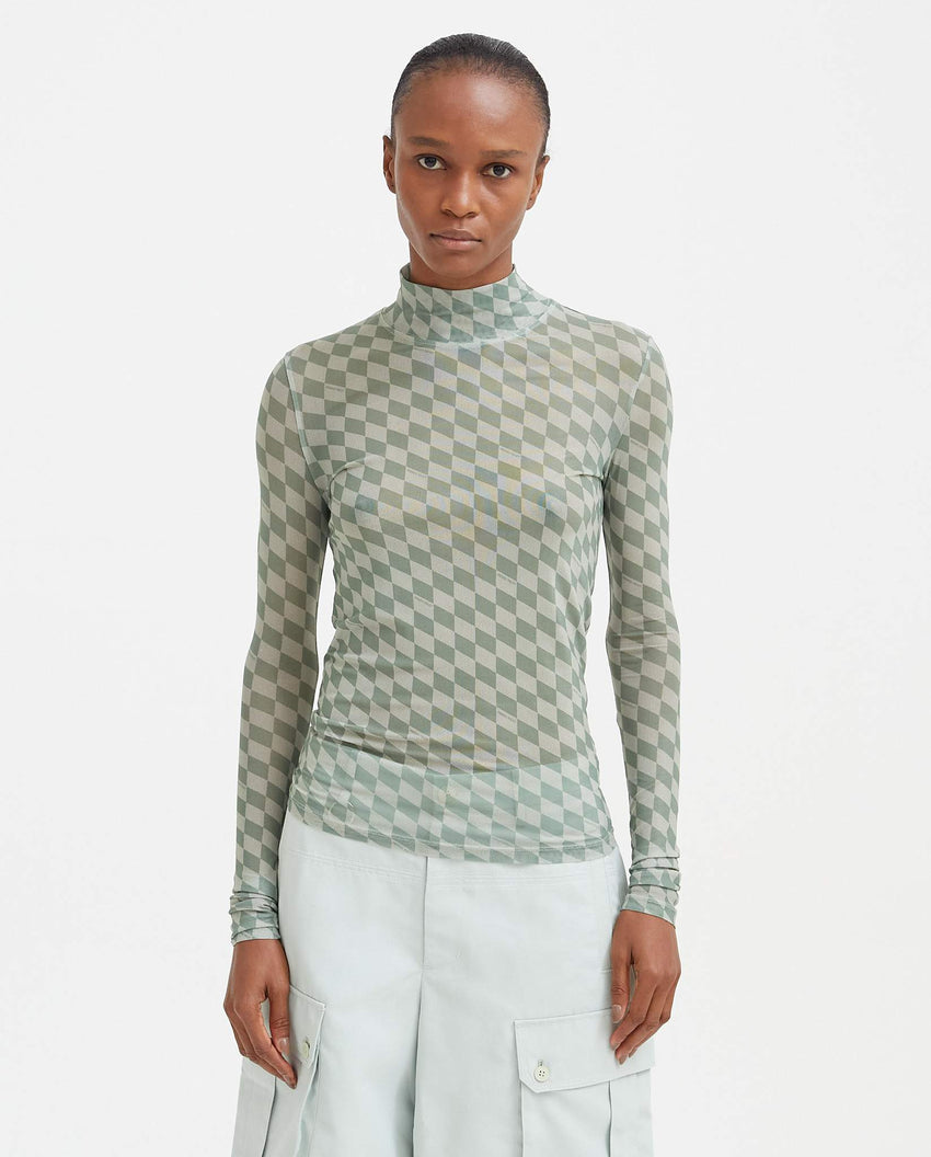 Checkerboard Turtleneck Mesh Top - Sage WOMENS Private Policy