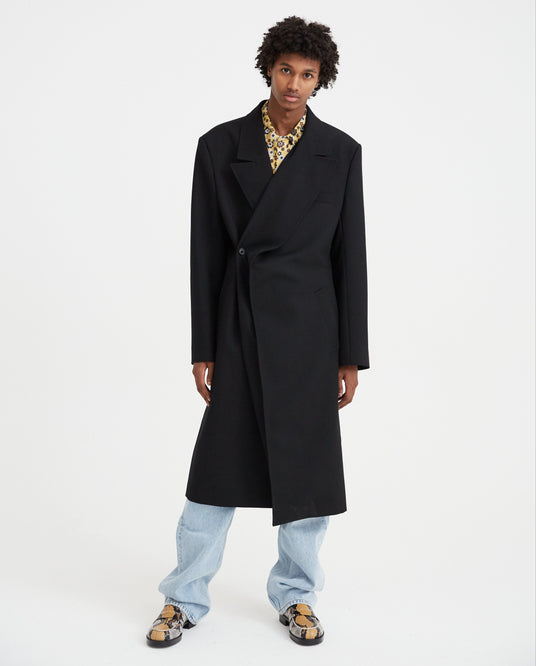 Classic Twisted Lapel Coat - Black MENS Y / PROJECT