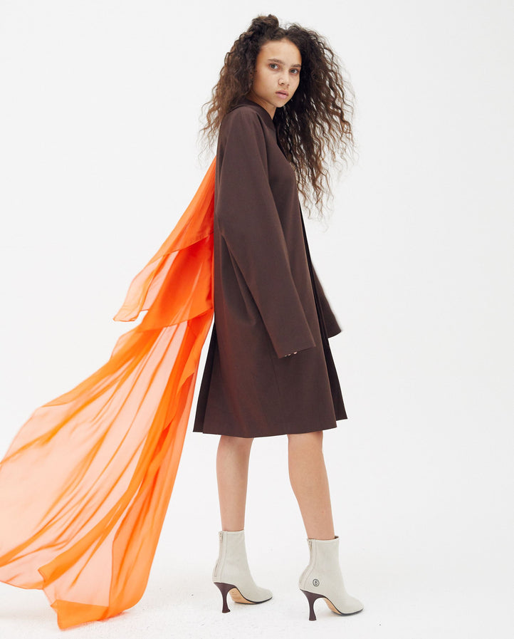 Cocoon Coat - Brown Orange UNISEX GOOMHEO