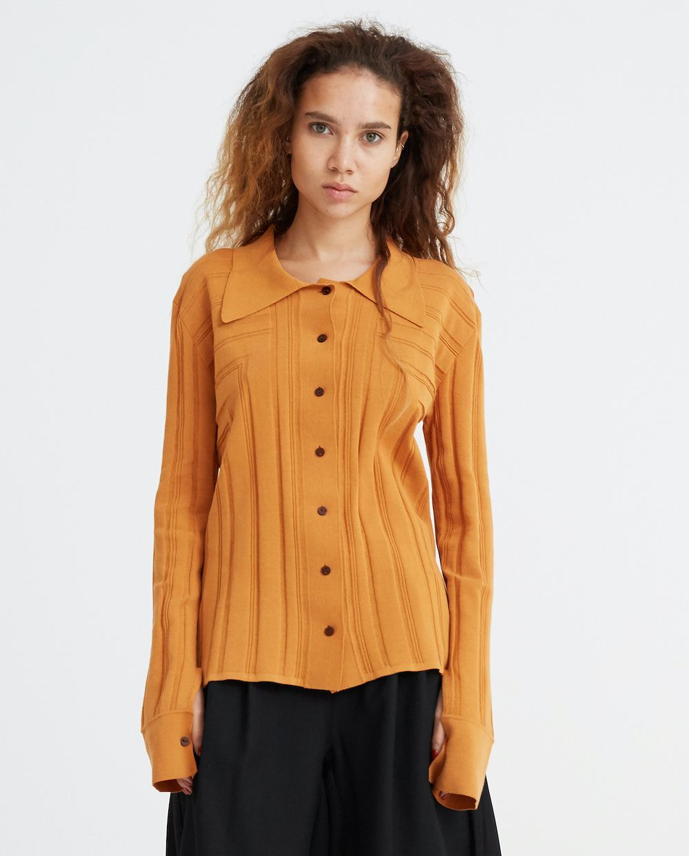 Corner Knitted Shirt - Orange WOMENS EFTYCHIA