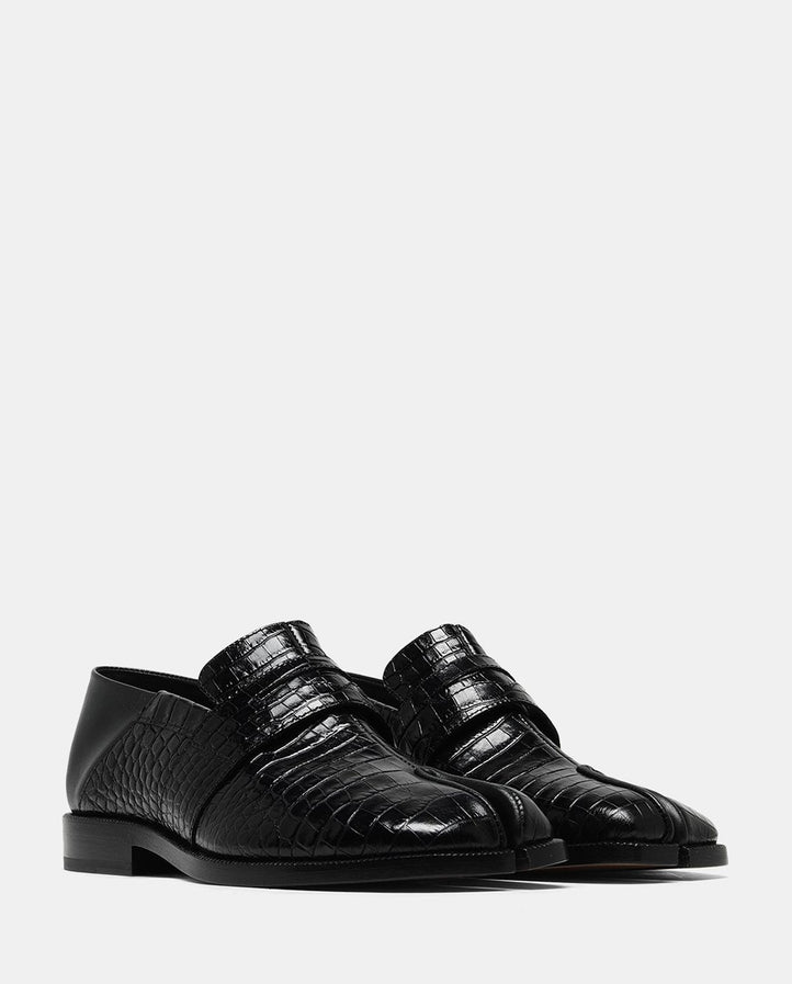 Croc Effect Tabi Loafer - Black WOMES MAISON MARGIELA