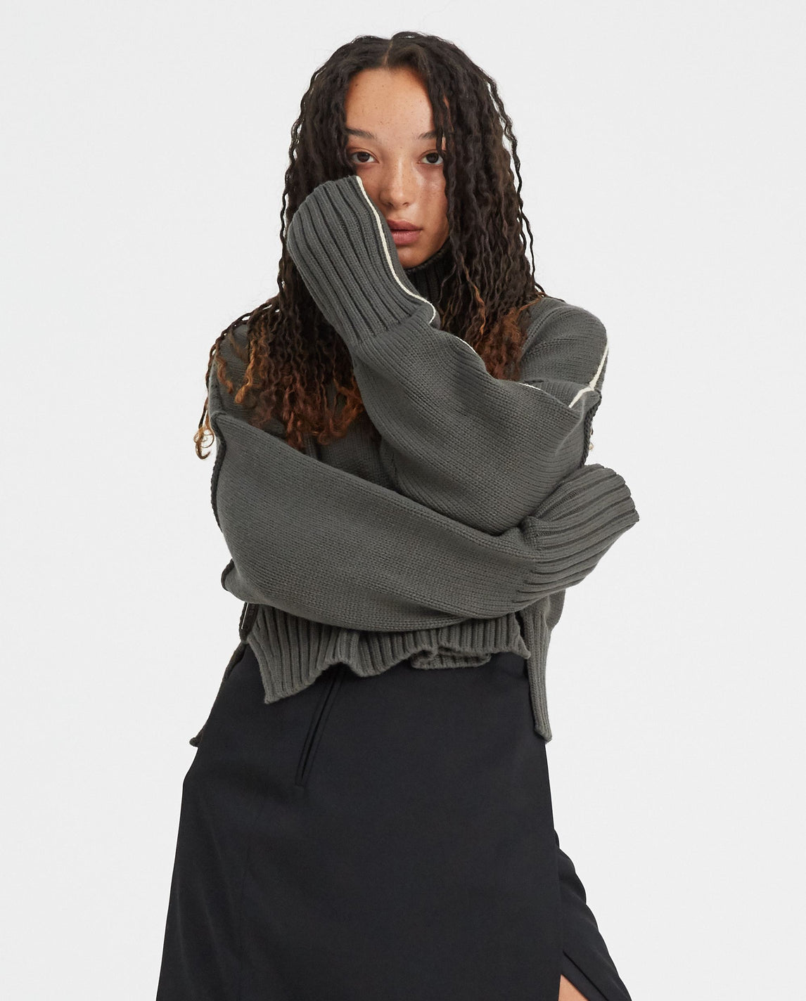 Cropped Oversized Sweater - Gun Metal WOMENS PETER DO