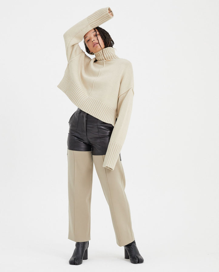 Cropped Oversized Sweater - Sheep Melange WOMENS PETER DO