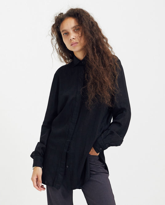 Crosshatch Silk Shirt - Black WOMENS 1017 ALYX 9SM