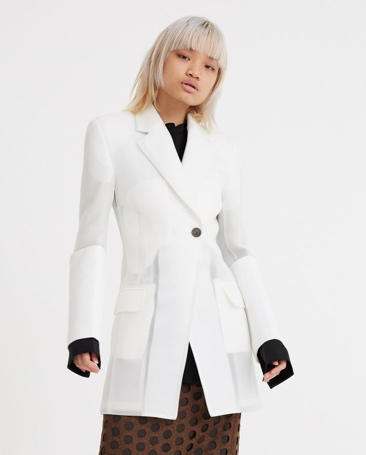 Cuffed Fitted Waist Blazer - Clear WOMENS PETER DO