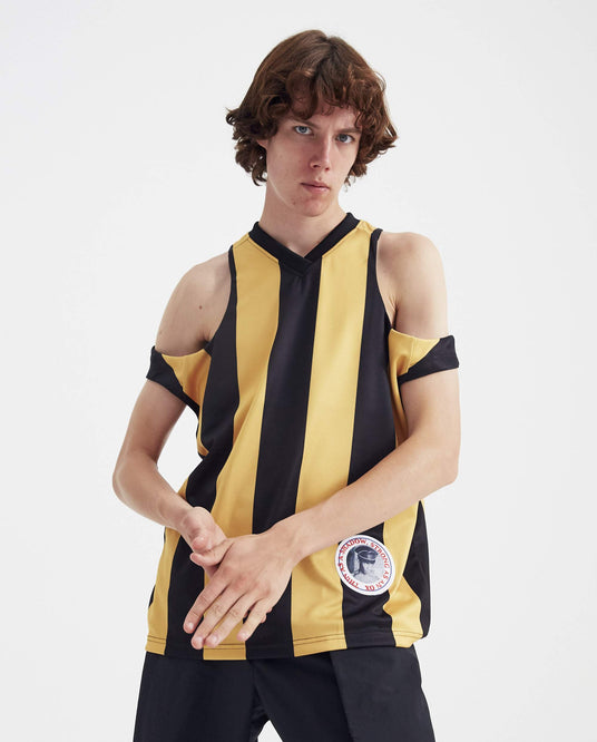 Cut-Out Football Vest - Yellow and Black MENS MARTINE ROSE
