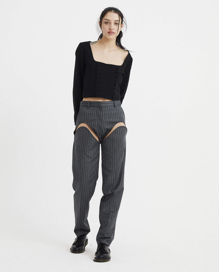 Cut Out Trousers - Grey WOMENS Y/PROJECT