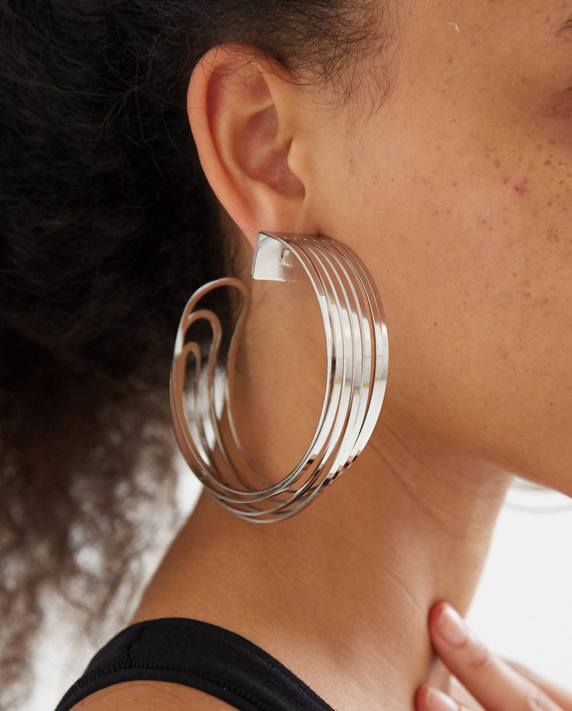 Deconstructed Hoop Earrings - Silver WOMENS Y/PROJECT