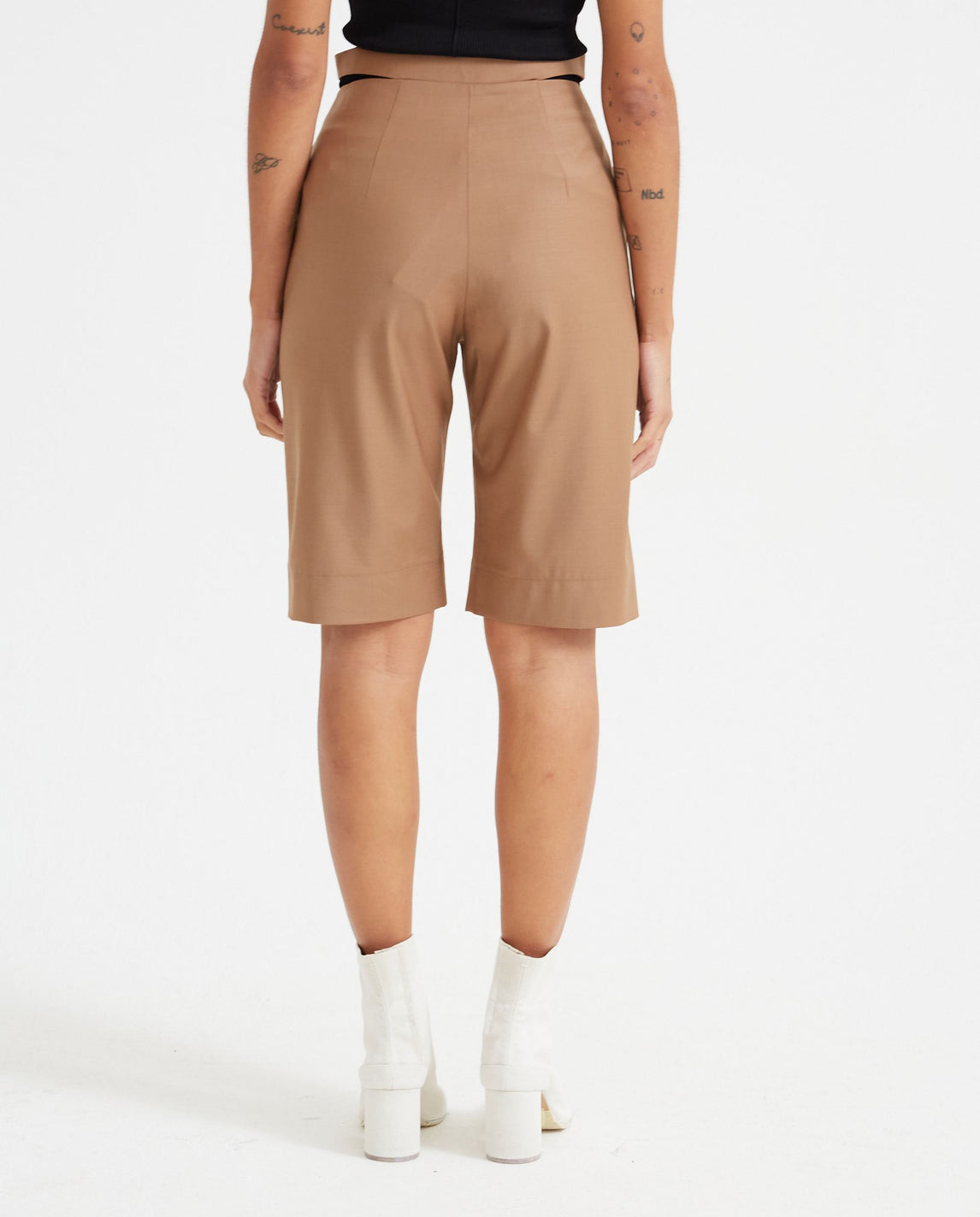 Deconstructed Tropical Wool Short - Caramel WOMENS MATERIEL